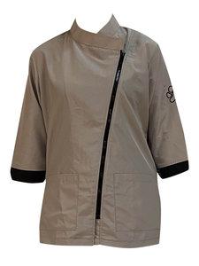Trimshirt 3/4 mouw beige/zwart-XL